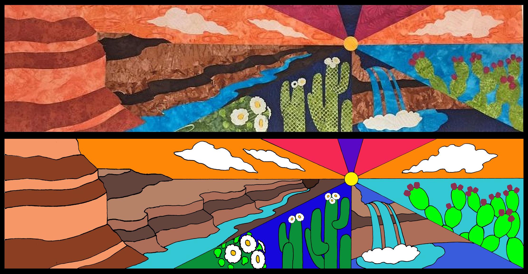 Desert Oasis quilt block design