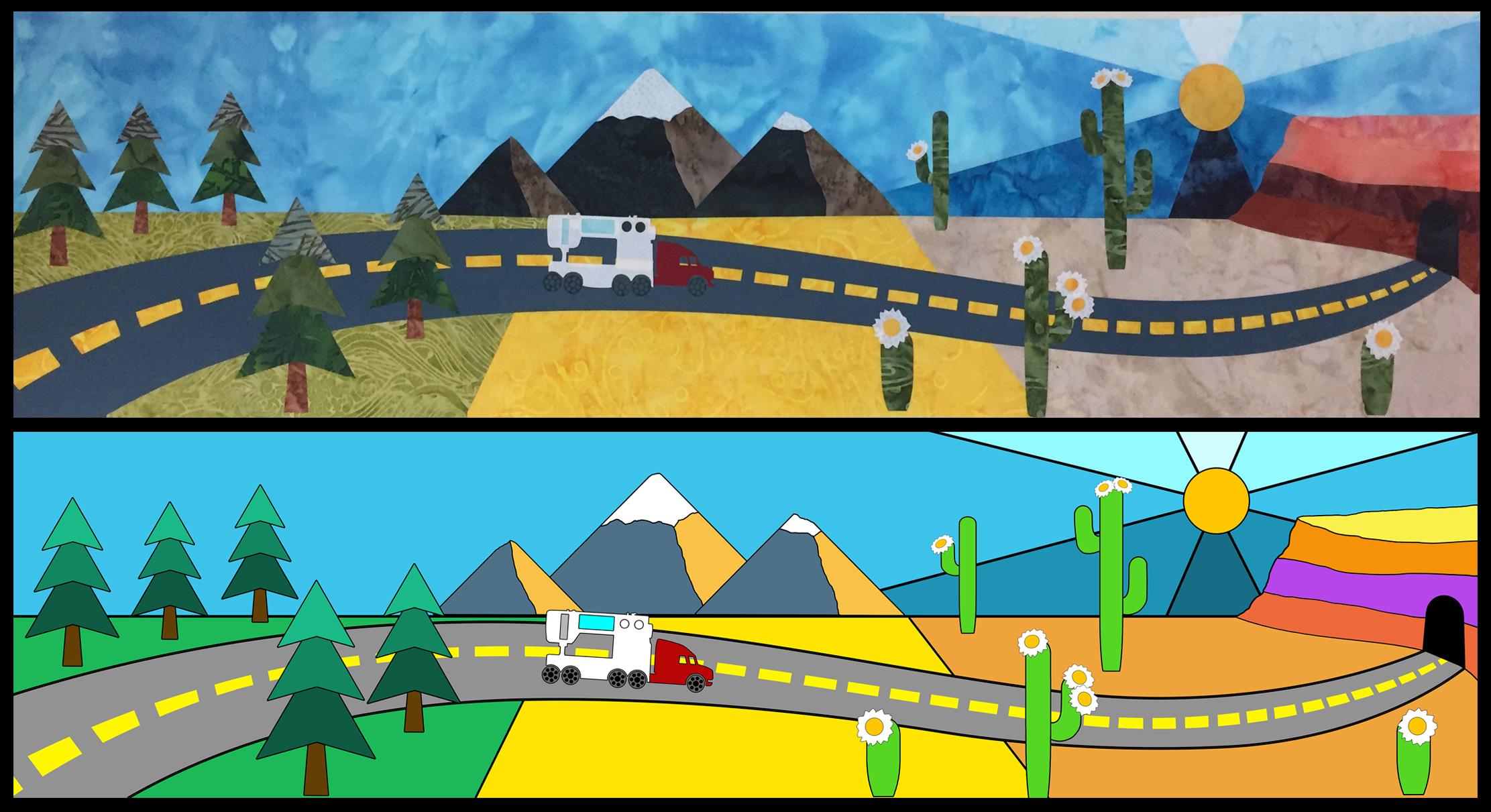 Road Trip quilt block design
