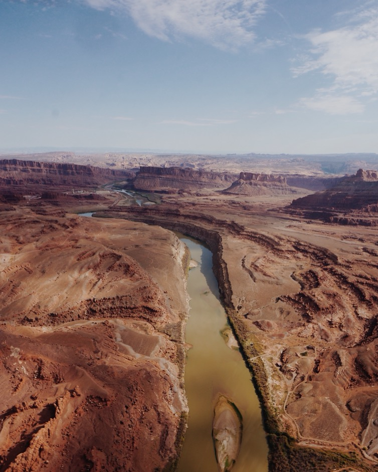 view from the air. helicopter ride in moab, utah.