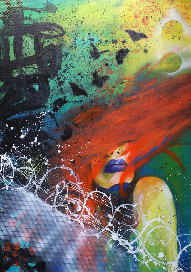 """""""Break Free"""" 36""""x26"""" Acrylic and spray paint on stretched canvas"""