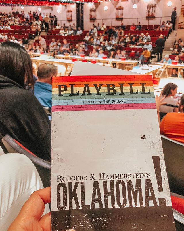 🌪️ Guys, I don't think I've been this impressed with the artistic interpretation of a play since maybe Lion King (which I think I first saw over 20 years ago). Oklahoma, on Broadway now, was amazing! This is not the play I used to watch over and over again on my VHS version when I was home sick. In fact, at intermission there were 2 women in front of us who were completely shocked by this production. I thought it was great. It's amazing how simple edits update the entire show. Changing the tone of voice, lengthening a pause, adding an extra glance, modernizing the wardrobe, etc. I wasn't going to see this but a coworker thankfully recommended it. So glad I got to see this.⠀ .⠀ It's also incredible how the themes are still relevant (more relevant?) today. In fact, I'd love to see someone like a Lena Dunham write a grittier and more modern part 2 to dissect the fall out of the original. Topics:⠀ .⠀ Does Ado Annie and Laurey's friendship change? (Also can we get more about their friendship in general? I'm assuming they're bffs but who knows)⠀ .⠀ Does Aunt Eller feel responsible for having Jud on the farm to begin with? What about the men? Surely, they're not responsible for Aunt Eller's decisions but somehow she ended up with the creepiest man working on her farm and no one said anything? Also the creepiest man wanted to take Laurey to the dance and no one said anything until he bids on the basket?⠀ .⠀ Does the basket tradition continue the following year? ⠀ .⠀ Does Will ever go to jail? Does Will's court session set future precedent for trials outside of the court? Does Will and Laurey's marriage survive? ⠀ .⠀ Anyway...go see the show and let me know about it once you do 🤩⠀ .⠀ .⠀ .⠀ .⠀ .⠀ #oklahoma #broadway #nyc #timessquare #theatre #musical #musicaltheatre #playbill #broadwaydreams #newyork