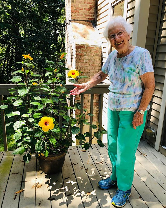 Visit with the grandparents. Grammy was very proud of this plant and wasn't quite sure how we could (or why we would) take a pic without it 🌼 will post the other pics separately but the full length pic was surely needed here. Definitely a contender for new favorite photo.