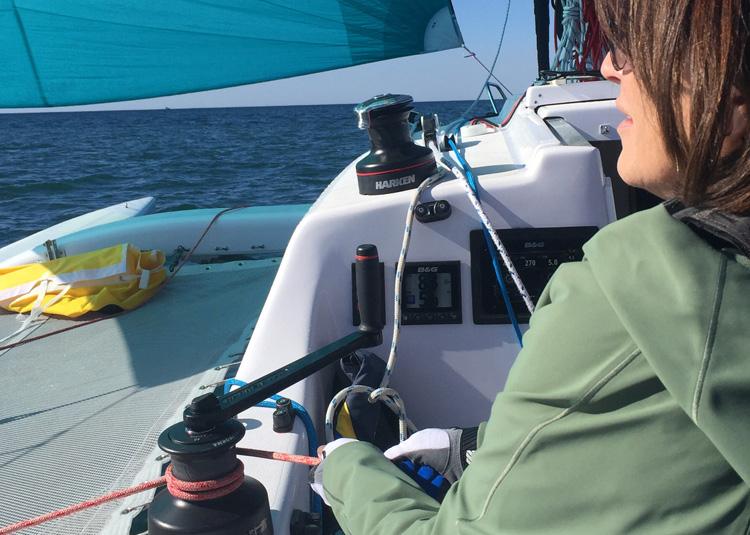 Training on the Corsair 970. Flying the spinnaker.