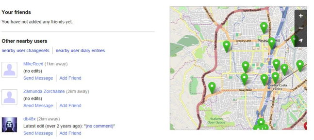 Figure 1. OpenStreetMap users near Pleasant Hill, CA