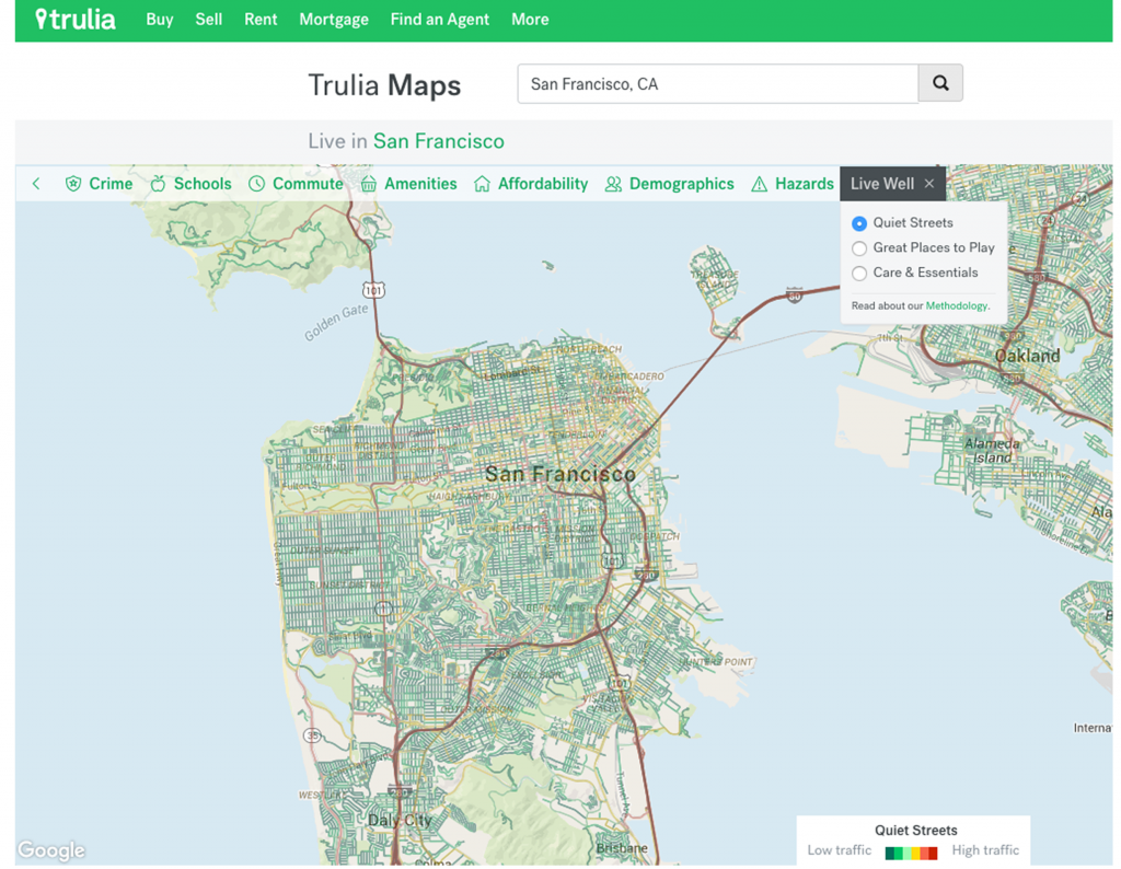 Trulia's Quiet Streets map shows traffic volume as an indicator of street noise in San Francisco.