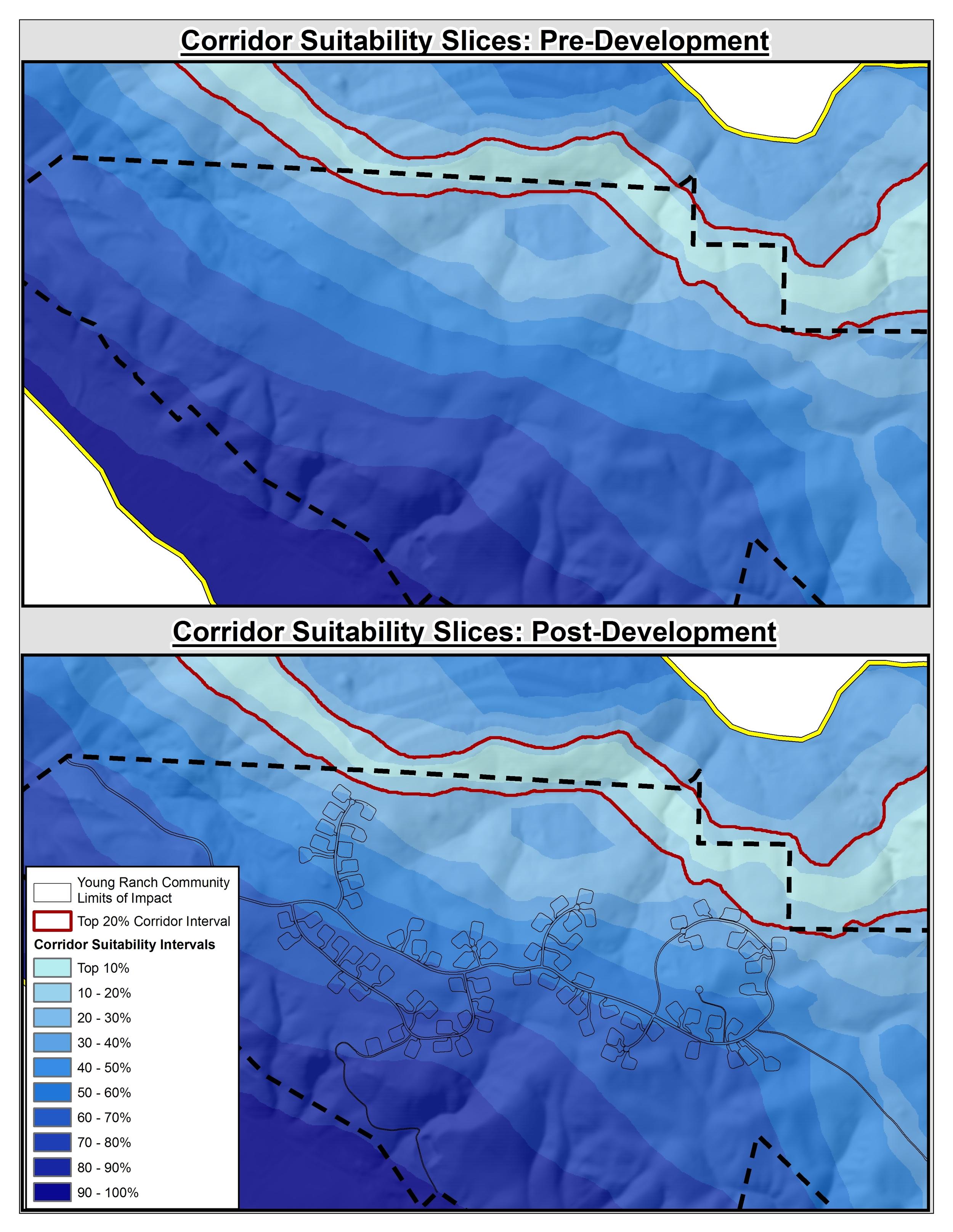 Figure 7.  Model results corridor suitability slices pre- and post-development comparison