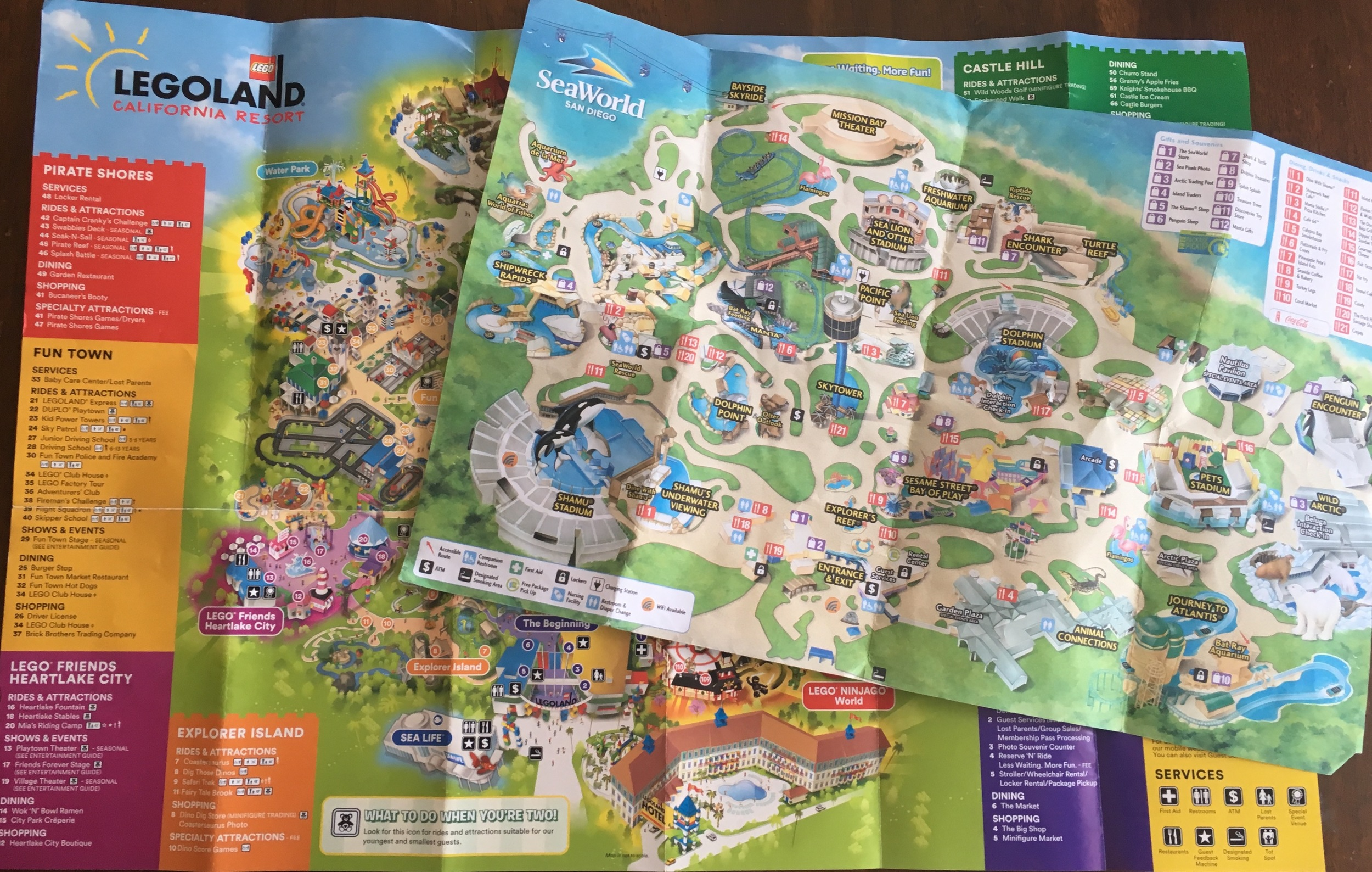 Park maps from my trip to Legoland and Sea World