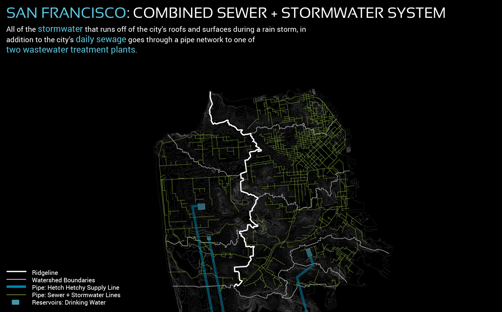 Figure 6. The city's combined stormwater and sewer system reveals patterns of the landscape, such as Golden Gate Park, and Twin Peaks
