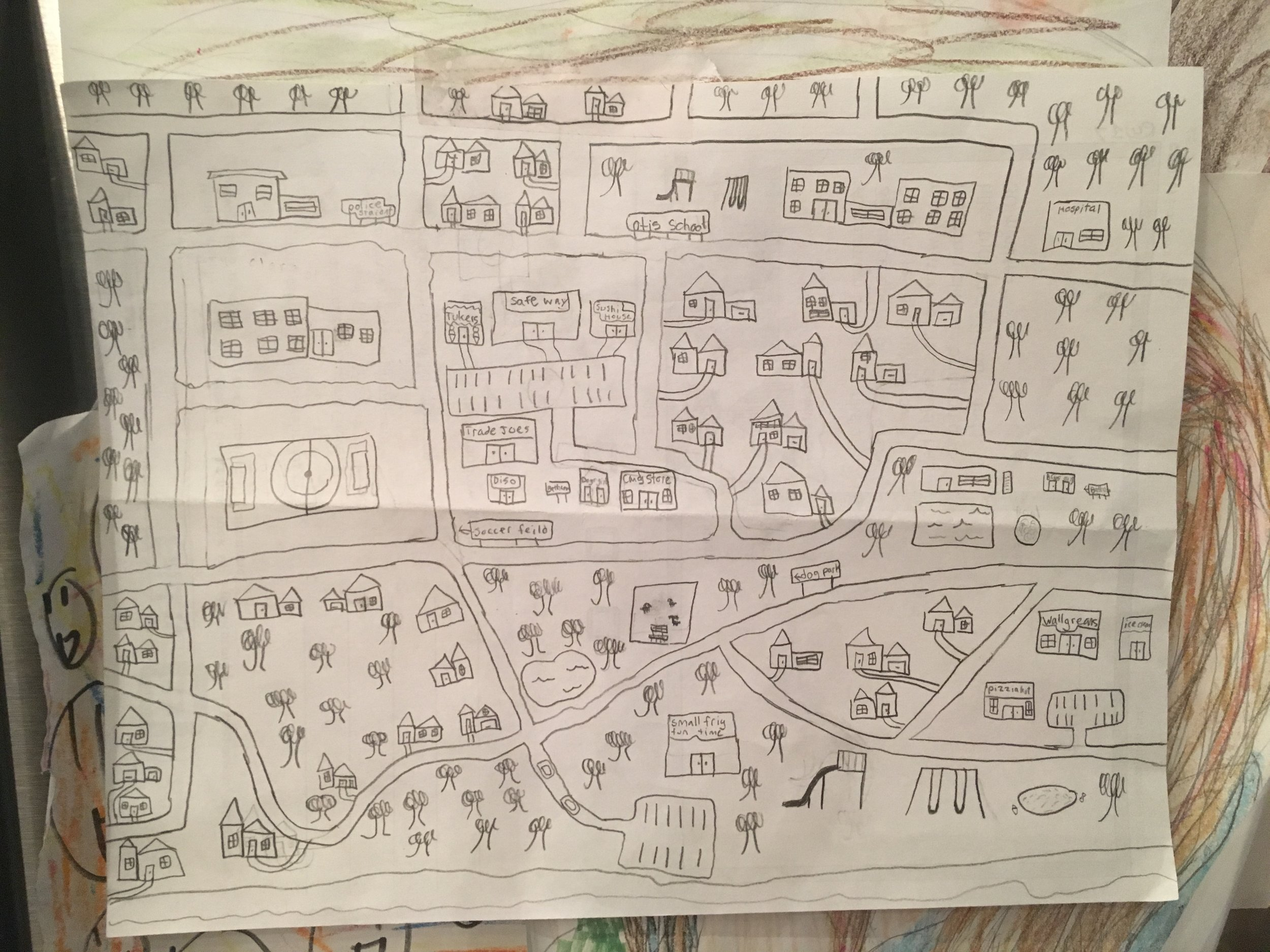 Here's the map currently gracing my refrigerator, created by my daughter