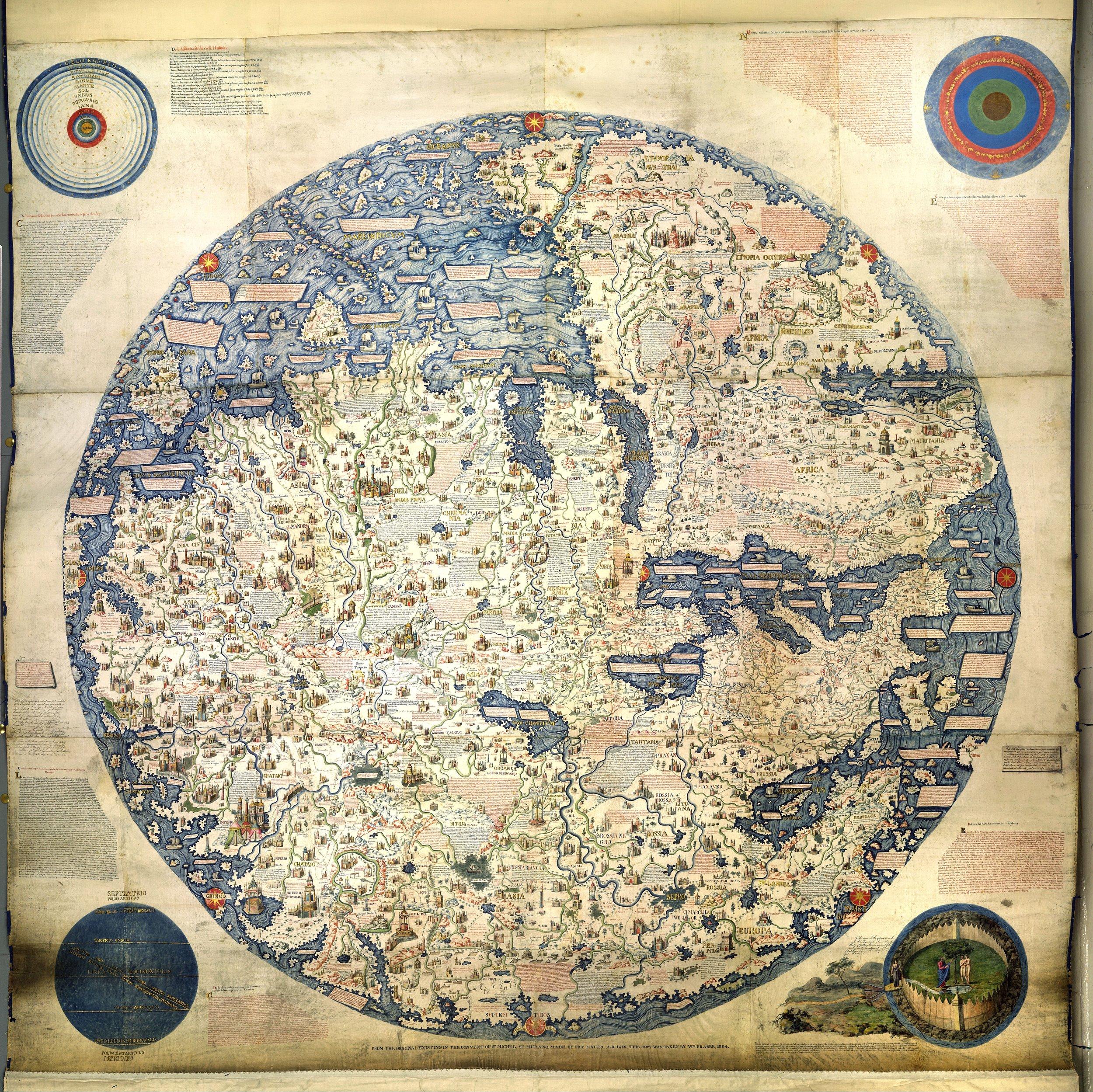 Fra Mauro's world map. Photo credit: Public Domain  https://upload.wikimedia.org/wikipedia/commons/9/95/Fra_Mauro_World_Map%2C_c.1450.jpg
