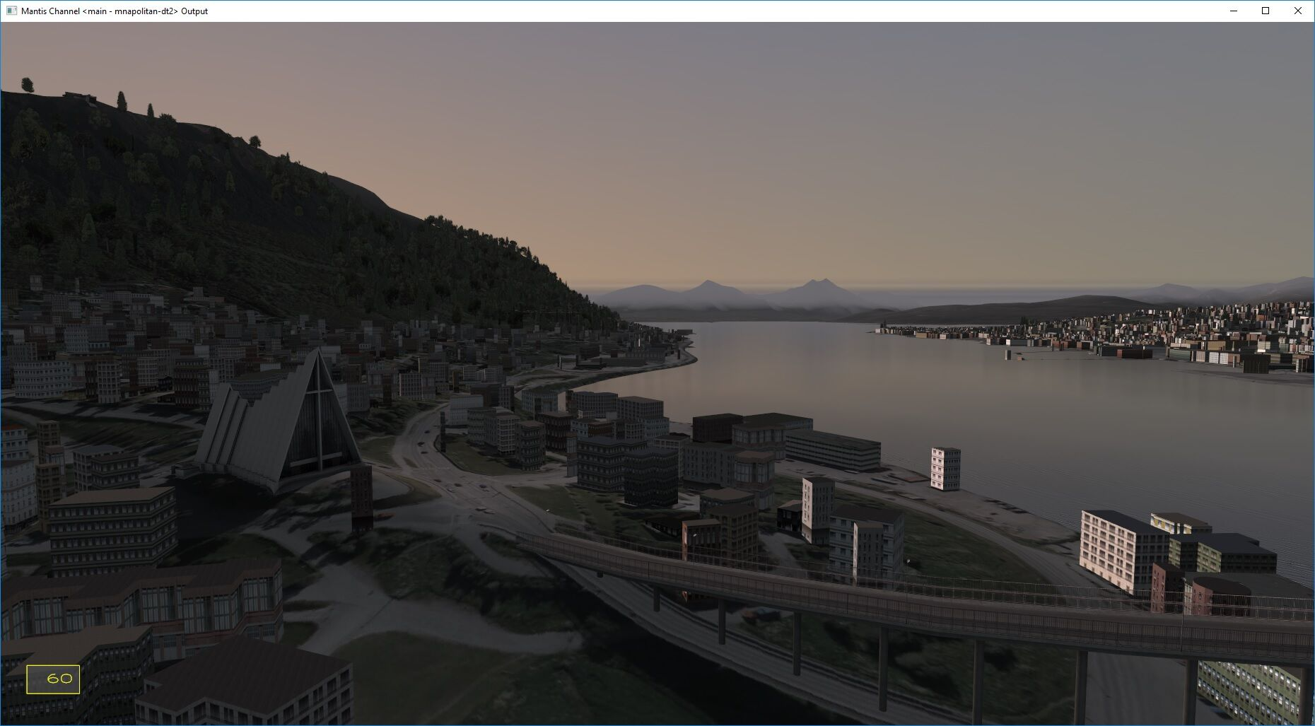 In this photo you can see a 3D terrain simulation of a rural town derived from many sources of geospatial data and processed through Quantum3D's workflow