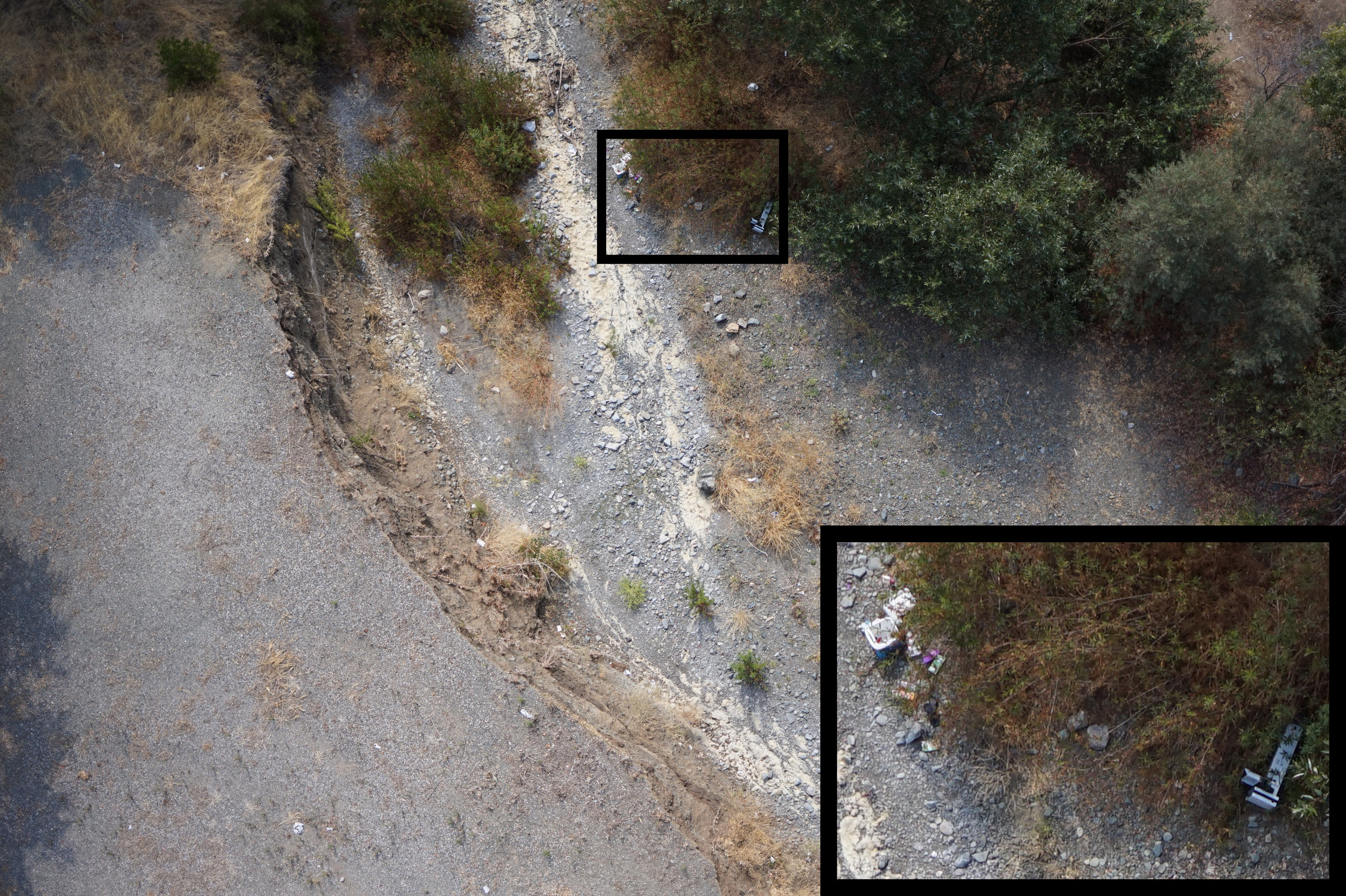 Figure 2. Trash shown using imagery taken from a drone flying 100 ft over Kirker Creek, Clayton, CA, Aug 14, 2018