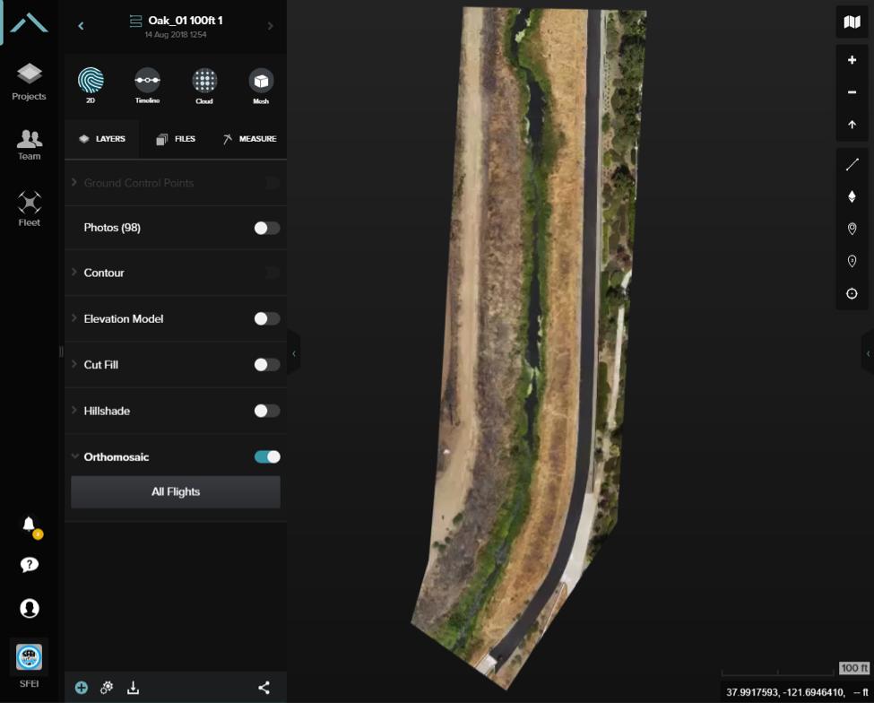 Figure 6. Marsh Creek near Warhol Way in Oakley, CA, Aug 14, 2018 as visualized in 3DR's Site Scan software