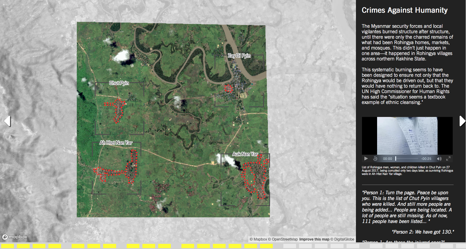 Interactive map showing the burned remains of Rohingya homes, markets, and mosques