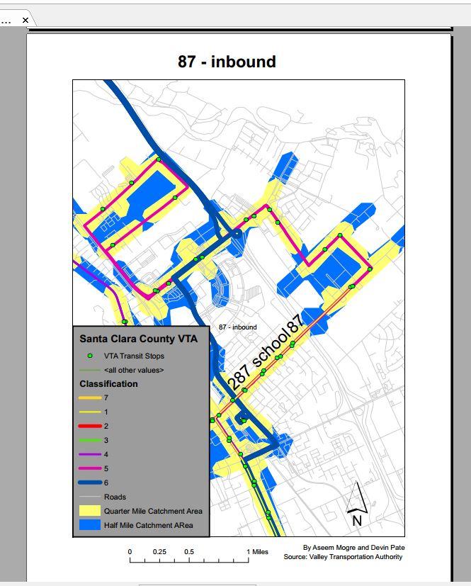 Figure 4. School Route 287 overlaps Local Route 87