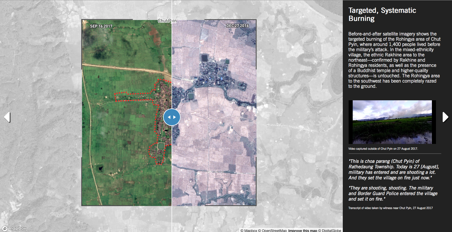 Screenshot of a map featuring the before-after slider