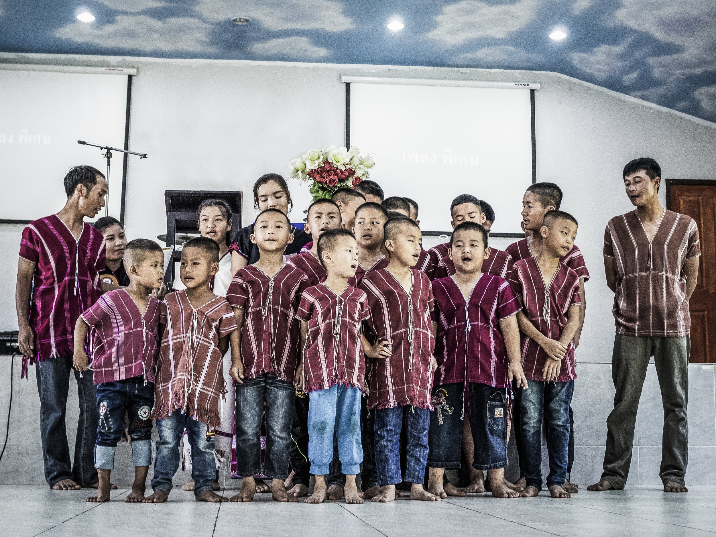 Boys at the Asia's Hope home supported by Holy Moses rehearse a song in the native Karen Tribe language.