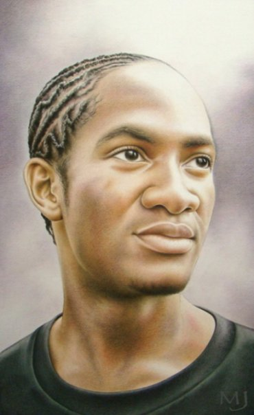 "Courtland Hayes , mixed media, 22"" x 13""  by Mary Jones Easley"