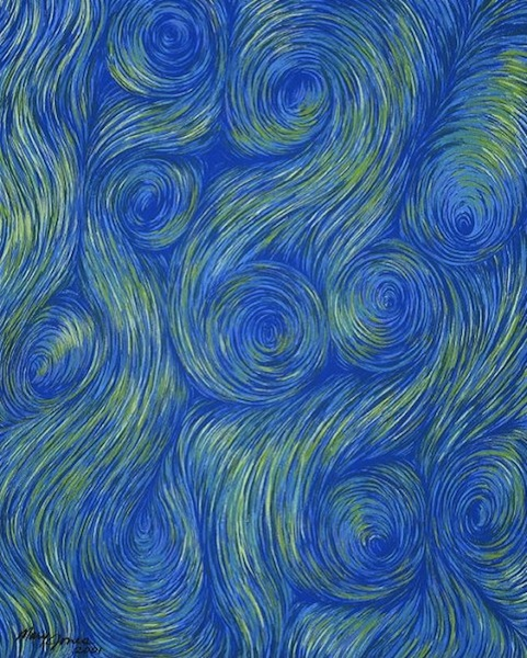 """Hope's Continuous Spiral , acrylic on canvas, 20"""" x 16""""  by Mary Jones Easley"""