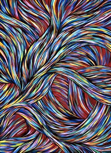 """Inner Turmoil , acrylic on canvas, 28"""" x 22""""  by Mary Jones Easley"""