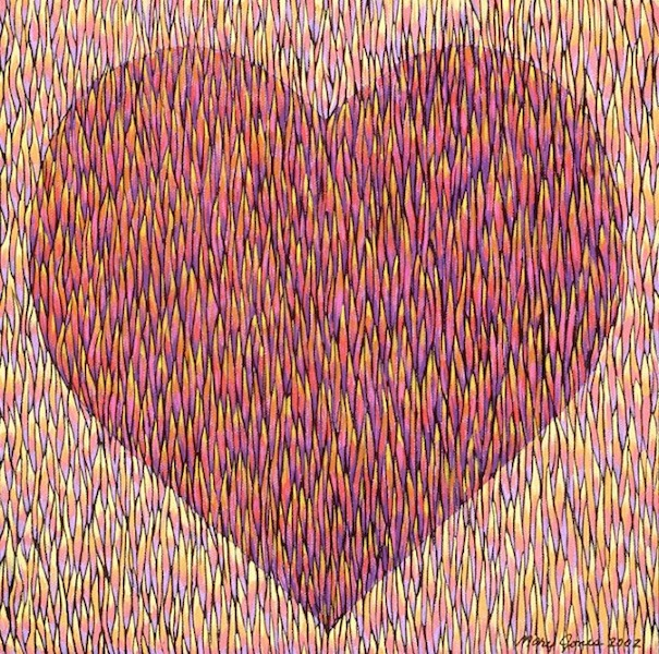 """Mended Heart , acrylic on canvas, 12"""" x 12""""  by Mary Jones Easley"""