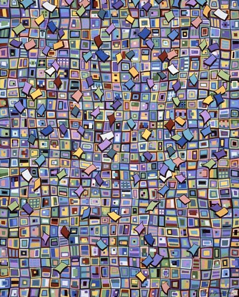 "Confetti Celebration , acrylic on canvas, 30"" x 24""  by Mary Jones Easley"