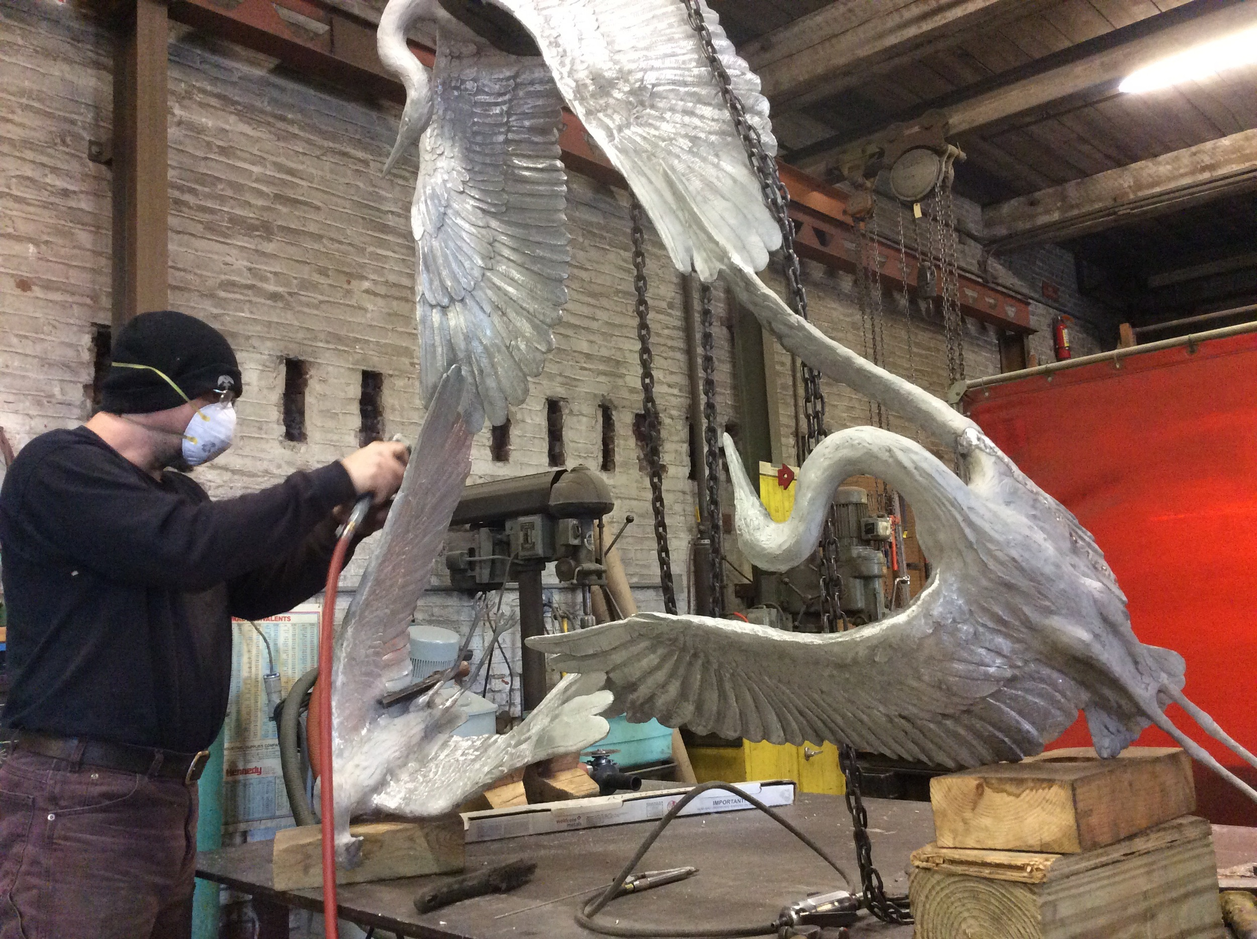 Jason finishes chasing this beautiful sculpture by Johanna Blake. Aluminum is a much lighter metal than bronze and can be very tricky to work. Experience and patience are fundamental.