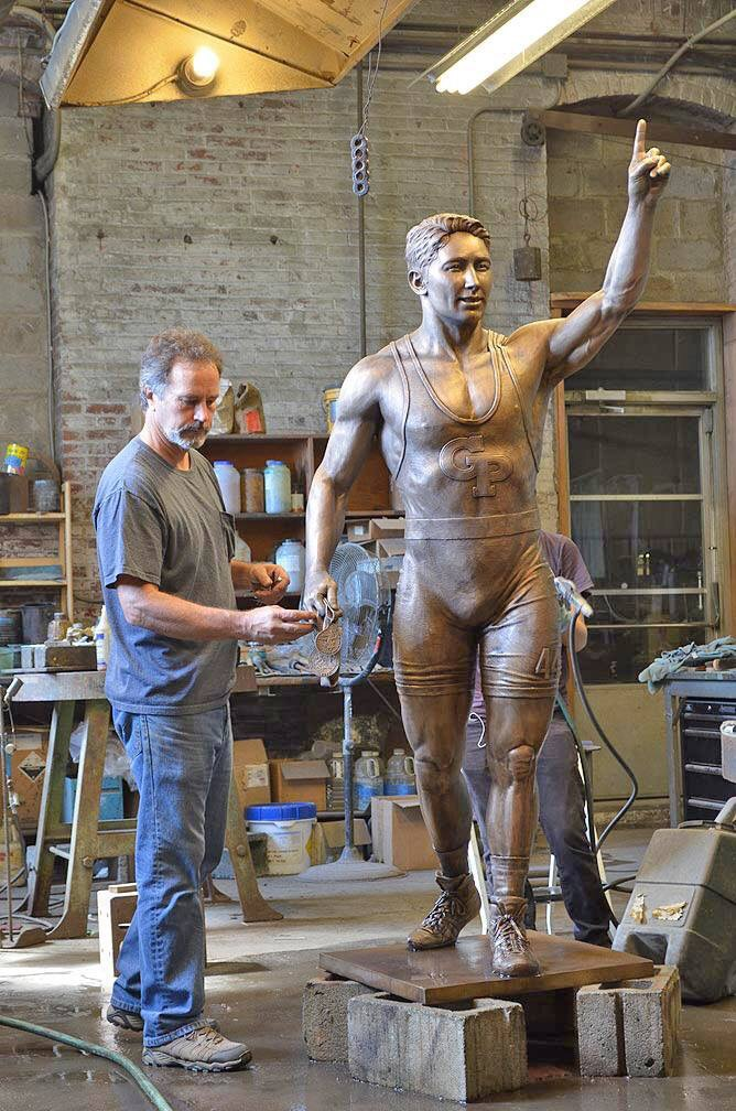 ThIs amazing piece by sculptor and foundry friend Jeff Hall (seen working with Lauren (who is hiding) on the patina.