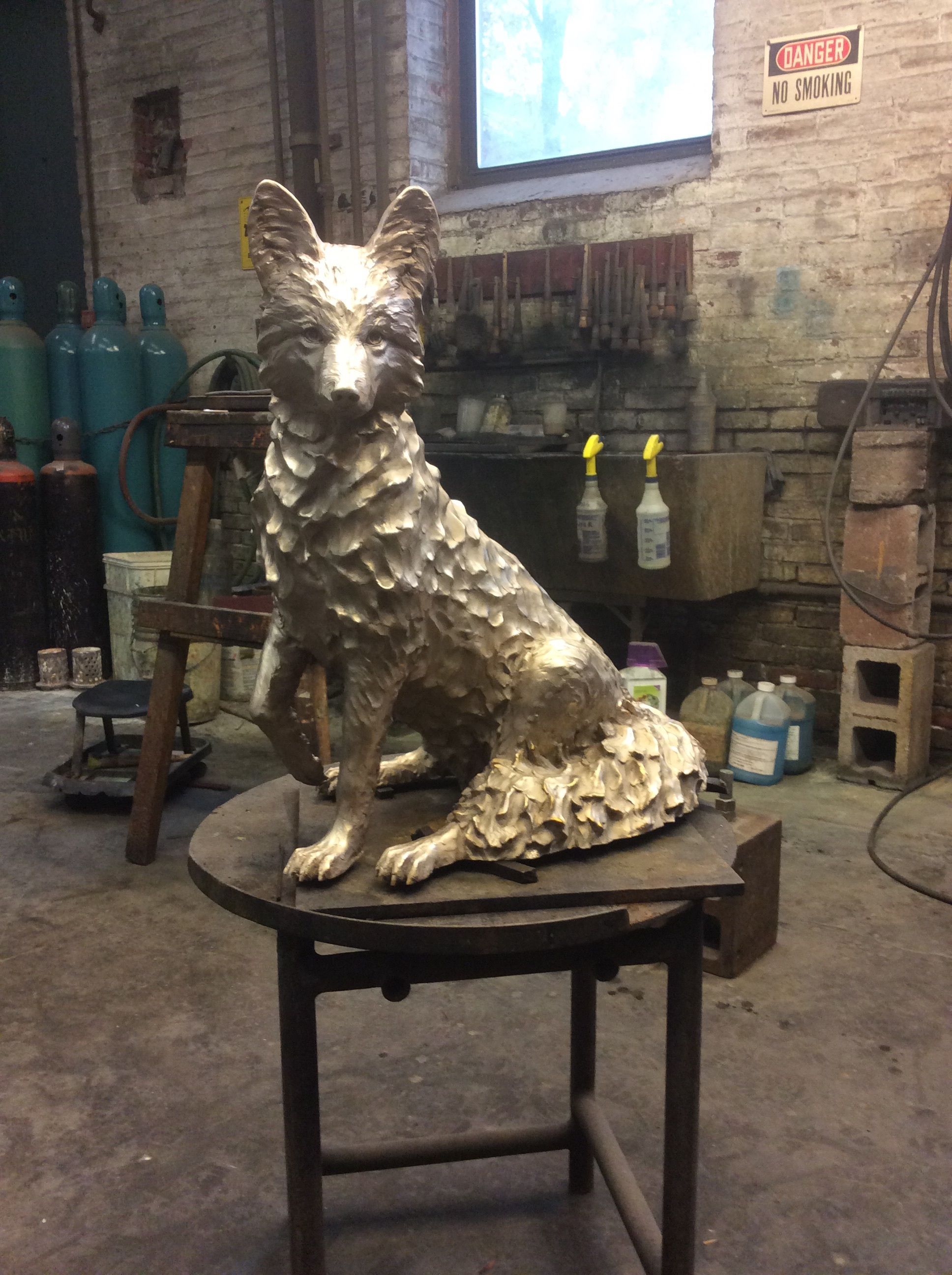 """Red"" the father fox in the family is all glass beaded and ready for patina."