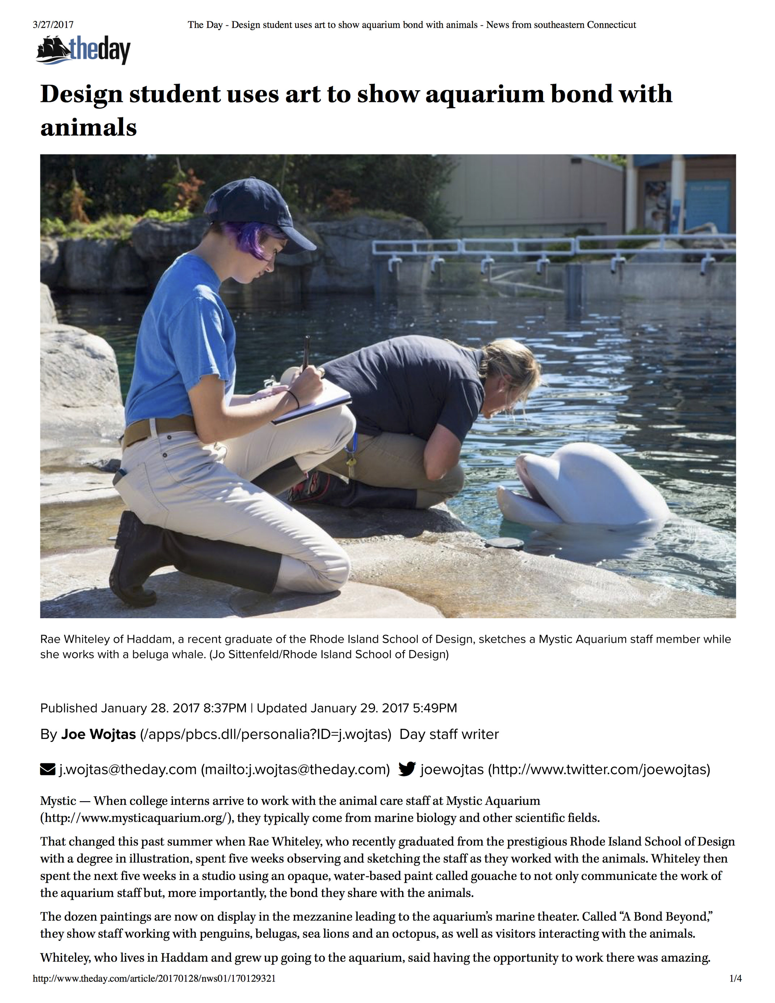 The Day - Design student uses art to show aquarium bond with animals - News from southeastern Connecticut.jpg