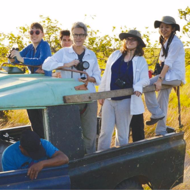 Dr. Lucy Spelman (holding camera) Guyana with RISD students, 2014