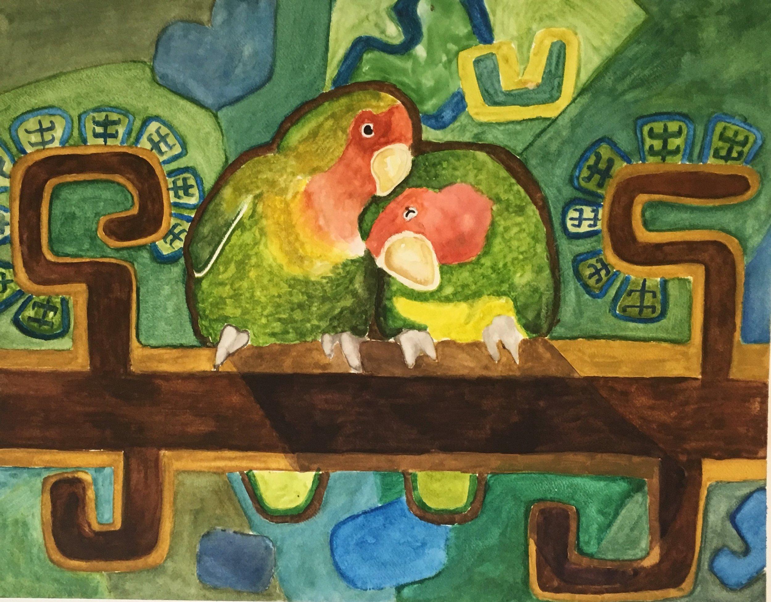 Lovebirds by Alex Suarez, visiting artist, Foster Parrots, 2017