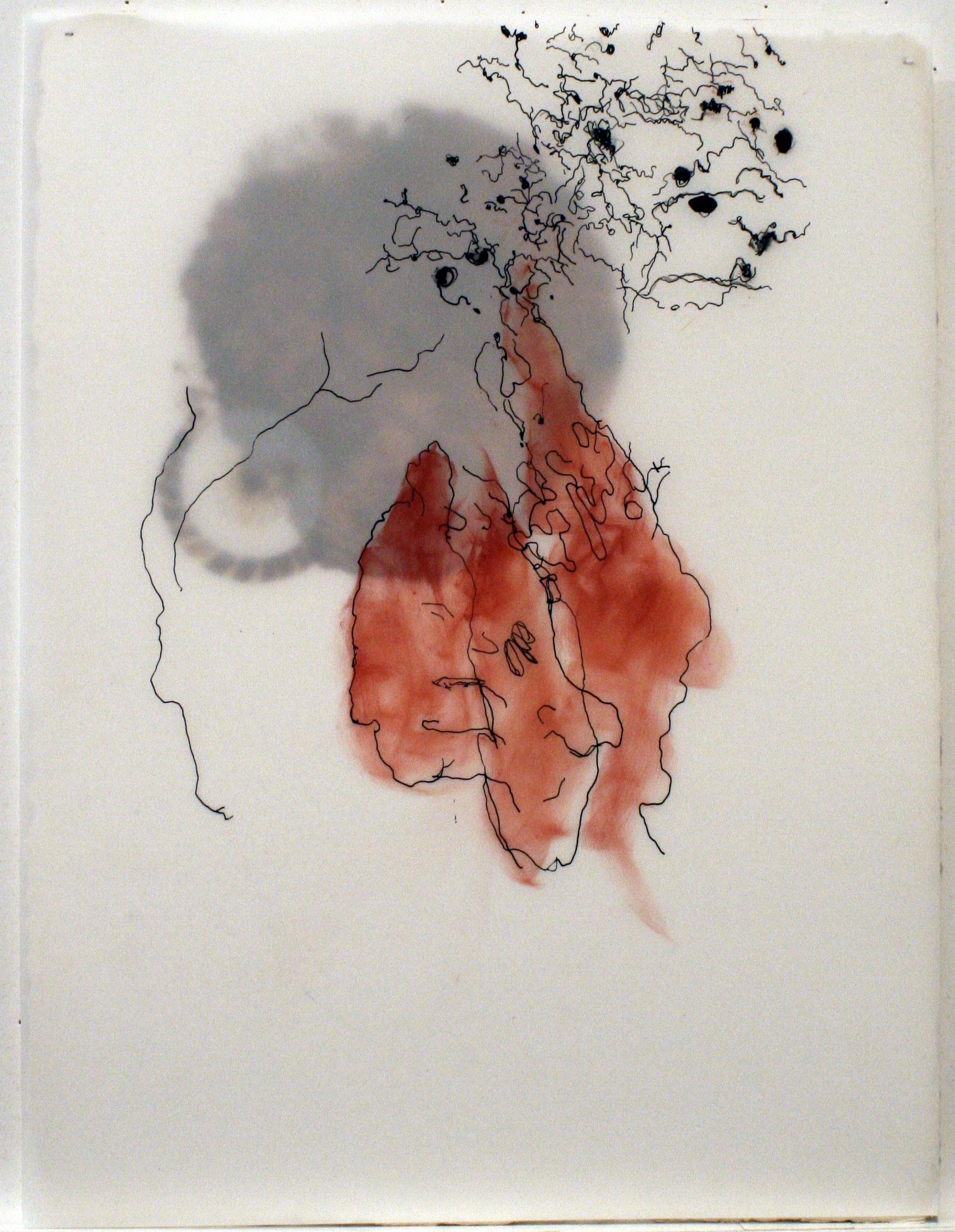 "Untitled 2 (Ménerbes)   mixed media on paper  9""x 12"" 2009"