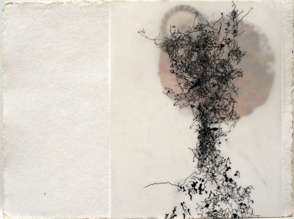 "Untitled 1 (Ménerbes)   mixed media on paper  9""x 12"" 2009"