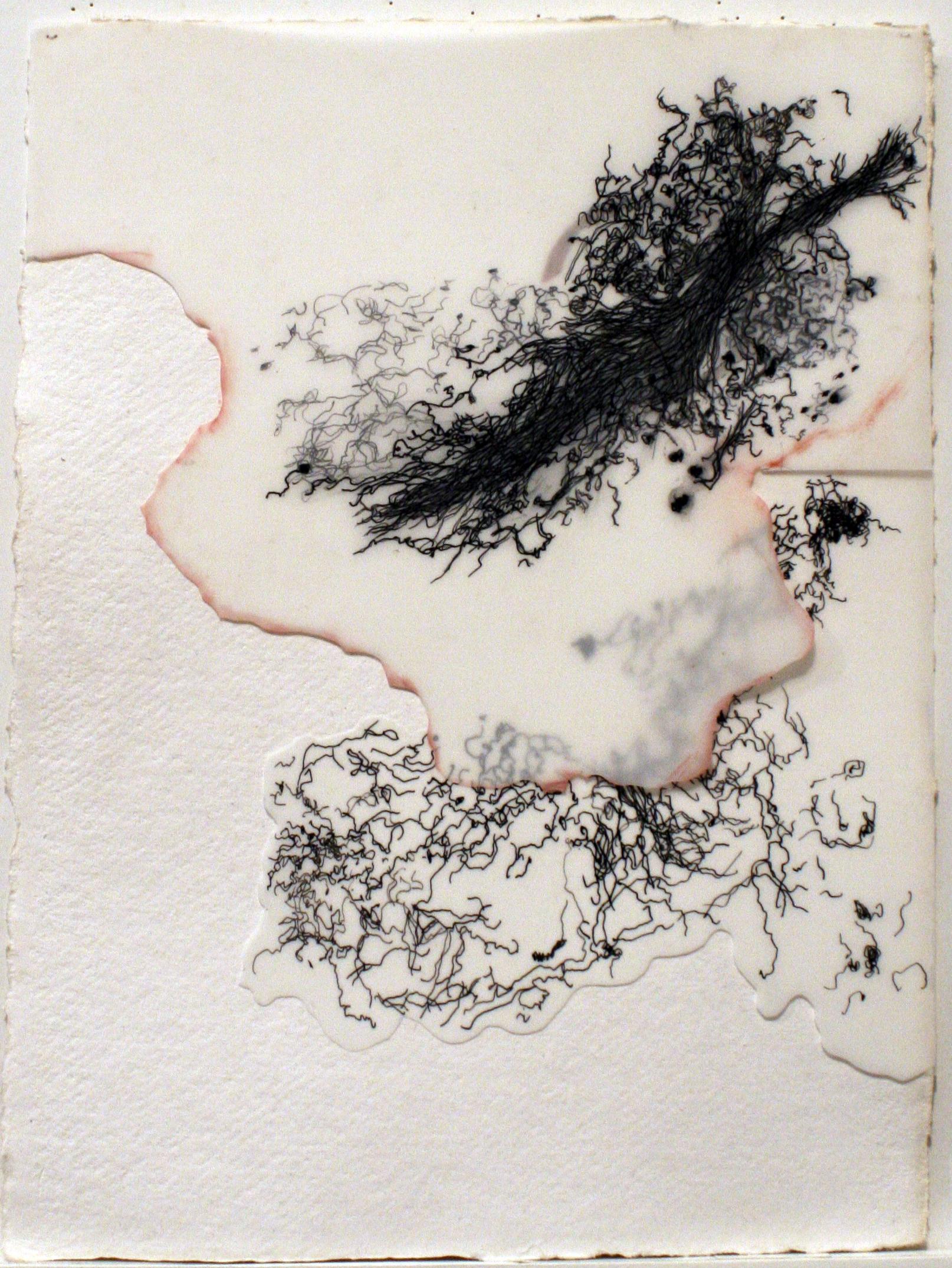 """10209 (Ménerbes)   mixed media on paper  9""""x 12"""" 2009"""