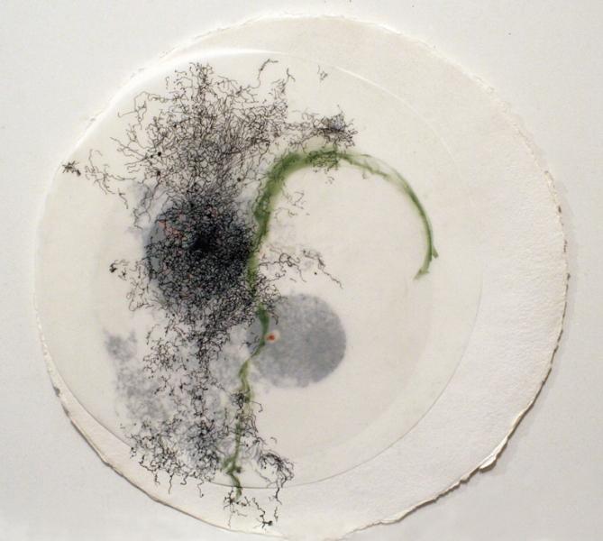 "91409 (Ménerbes)   mixed media on paper  16""diameter  2009"