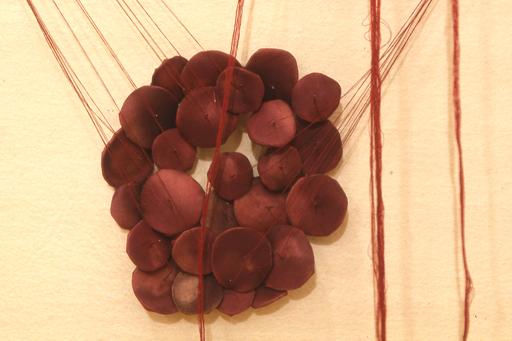 """Loculus 8 (detail)   silk, felt, graphite, needles, thread  9 ft x 13 ft x 1"""" 2000"""