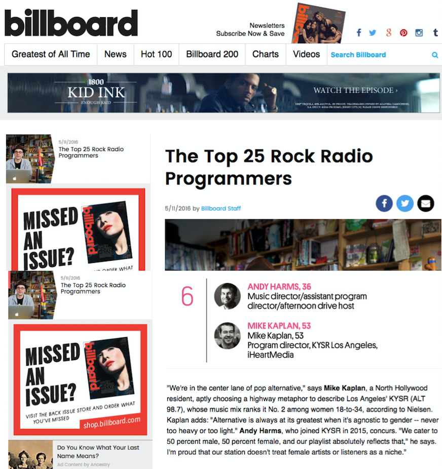 Voted the #6 Rock Radio Programmer in the Country