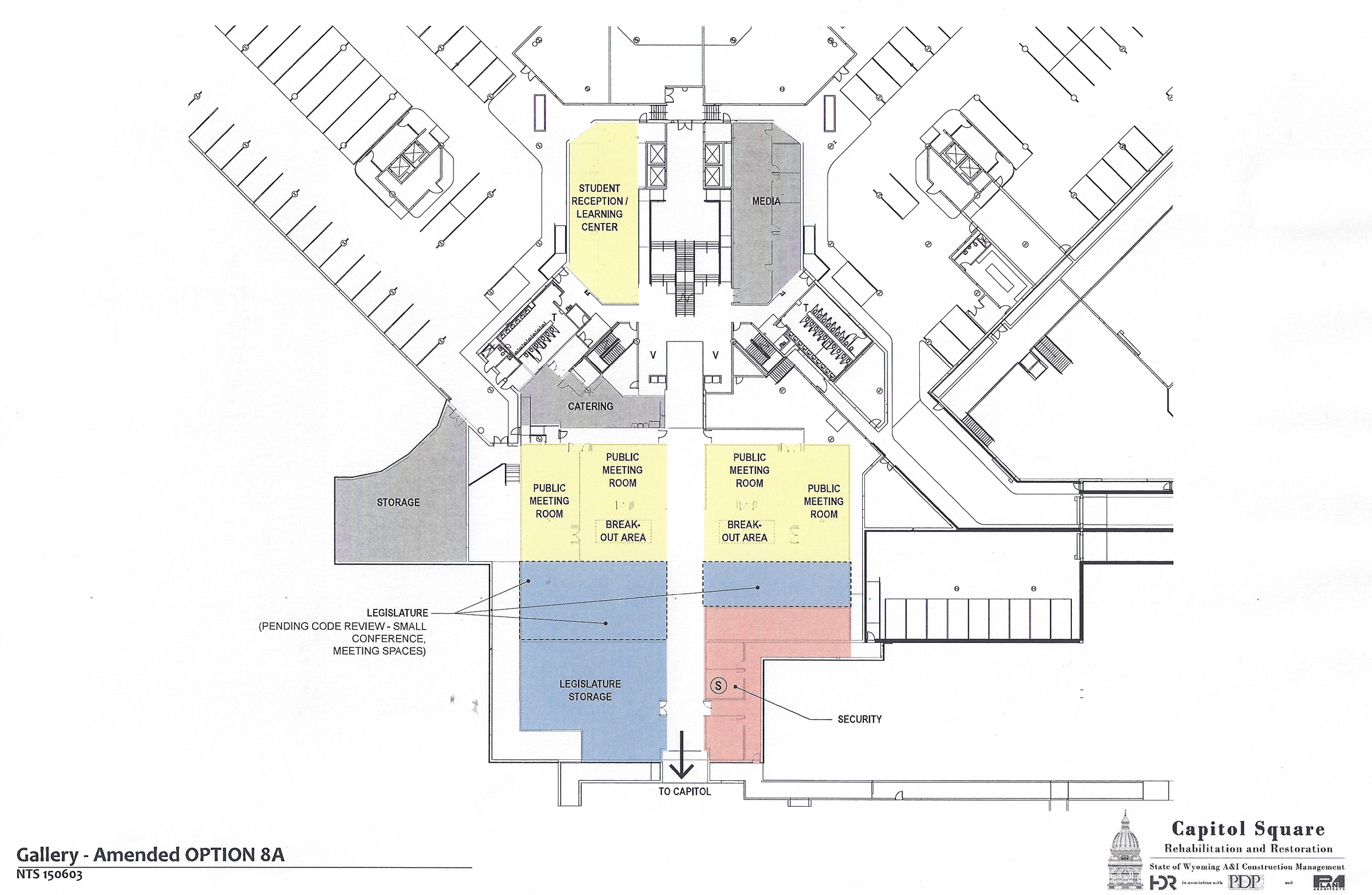 Preliminary design plans for the the gallery connecting the Capitol and the Herschler Building as of June 2, 2015.