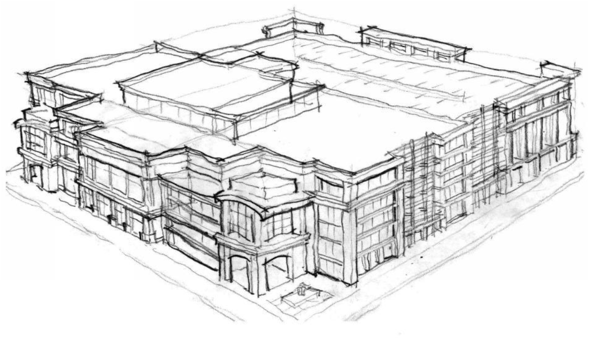 Conceptual Design Sketch of Proposed Building on Saint Mary's Property