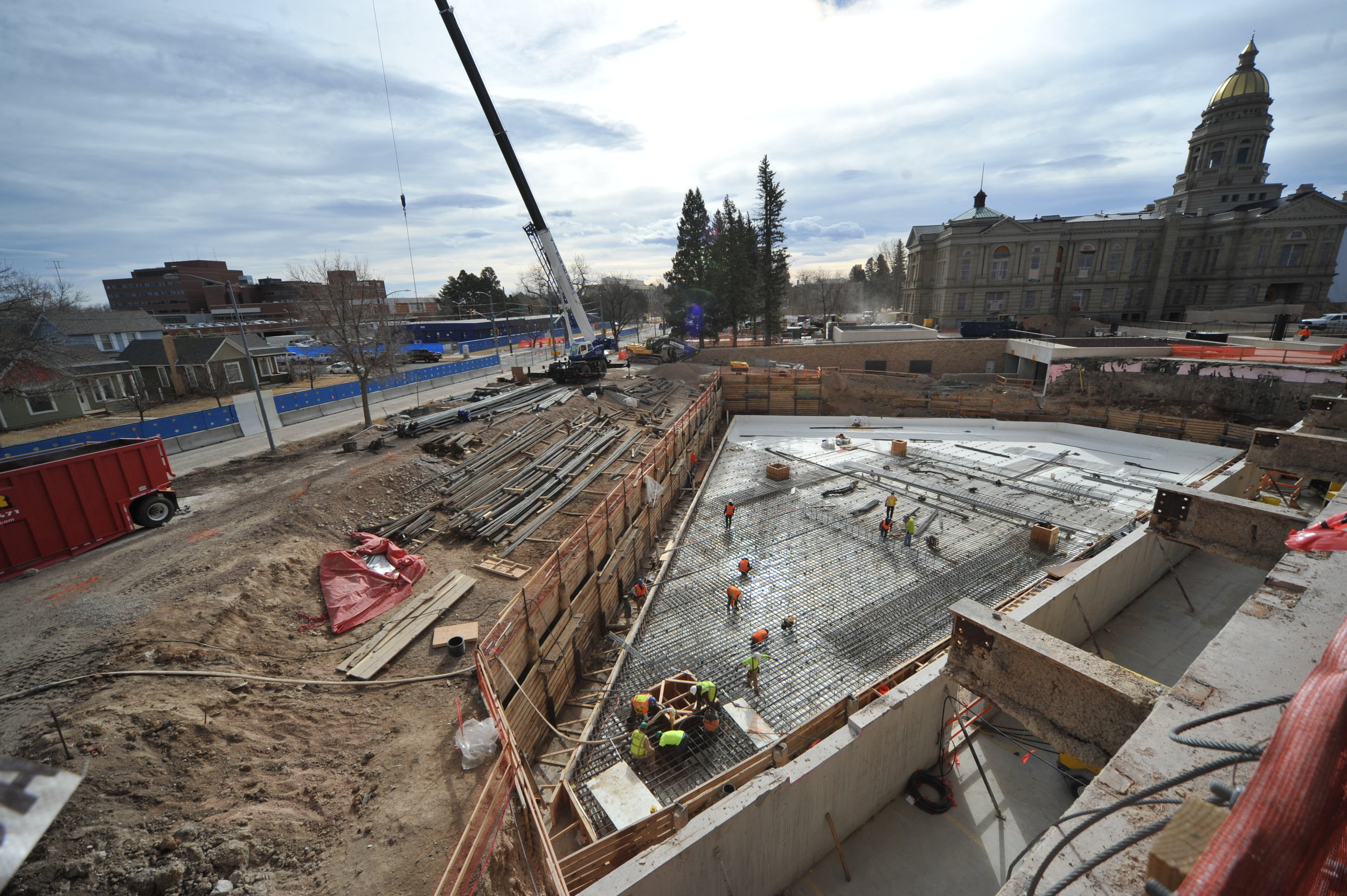 Last week, workers laid rebar for the mat slab foundation that will support the new central utility plant.