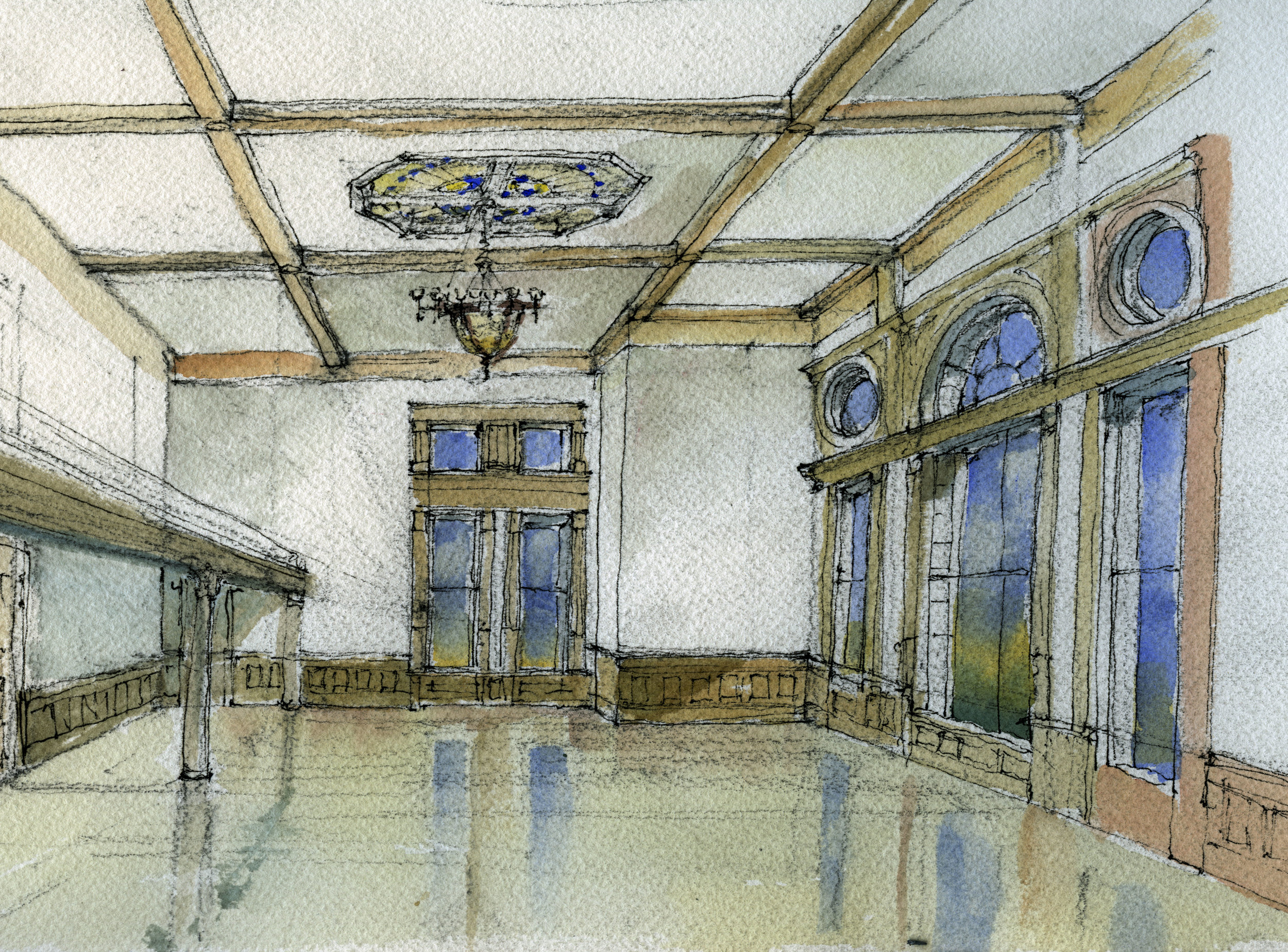 The restored room is envisioned in a watercolor design sketch by Paul Brown, a member of the project team. The stained glass laylight and the chandelier were in another room and will be returned to their original location in the historic chamber.