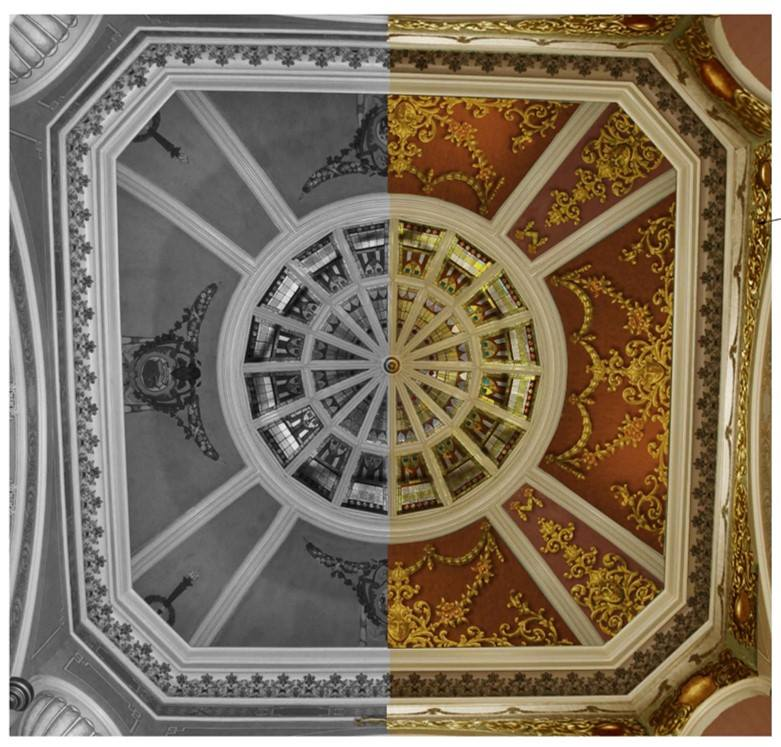A comparison of what the ceiling of the Capitol Rotunda looks like today (black and white photo) and the preliminary design (far right, in color) which depicts the original 1888 design.