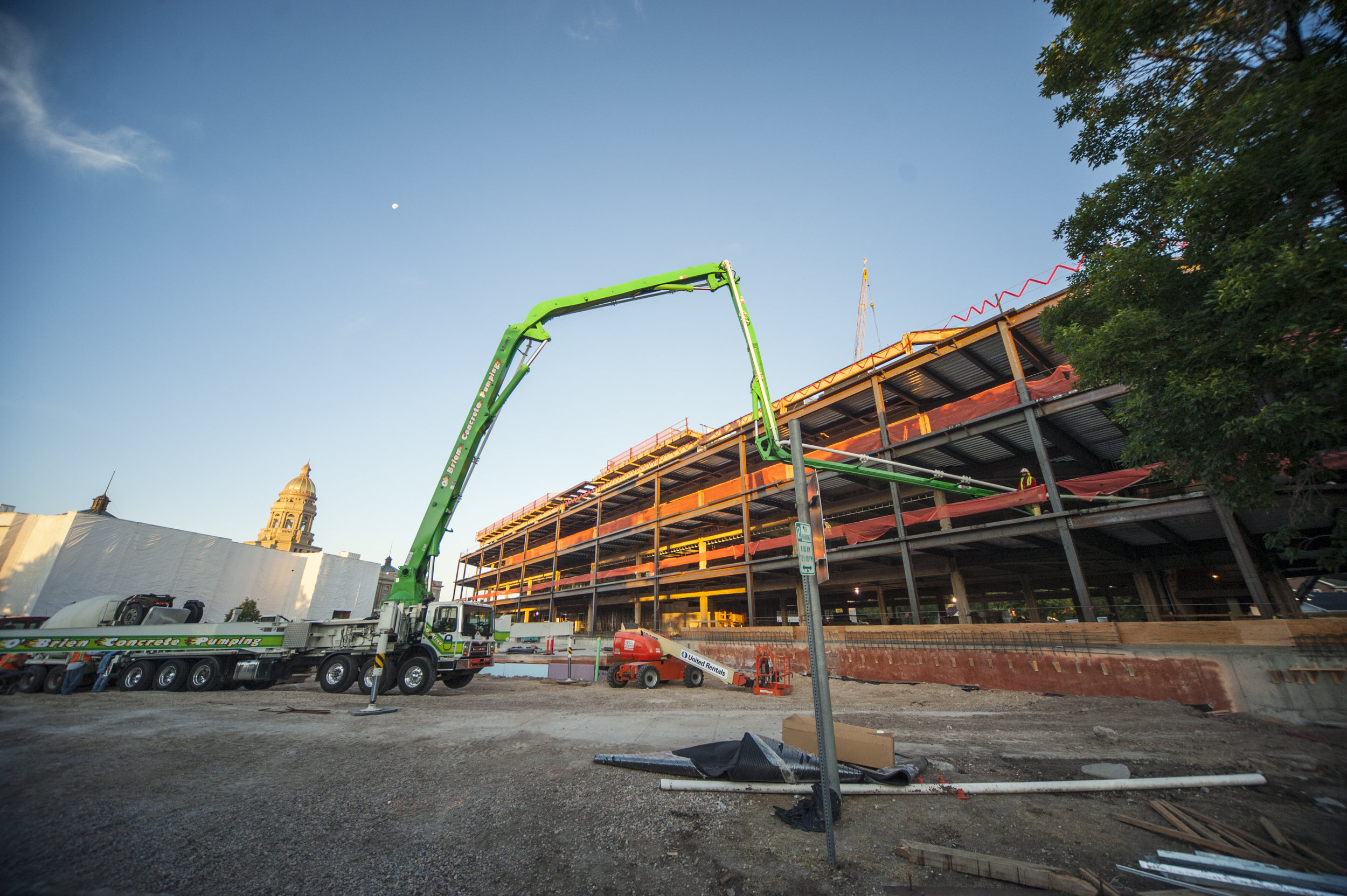 An early morning at the Wyoming Capitol Square Project. Similar to previous concrete pours, the operation was planned to avoid city traffic interfering with the delivery of concrete. The pours on July 14 and July 15 began at 5 a.m.