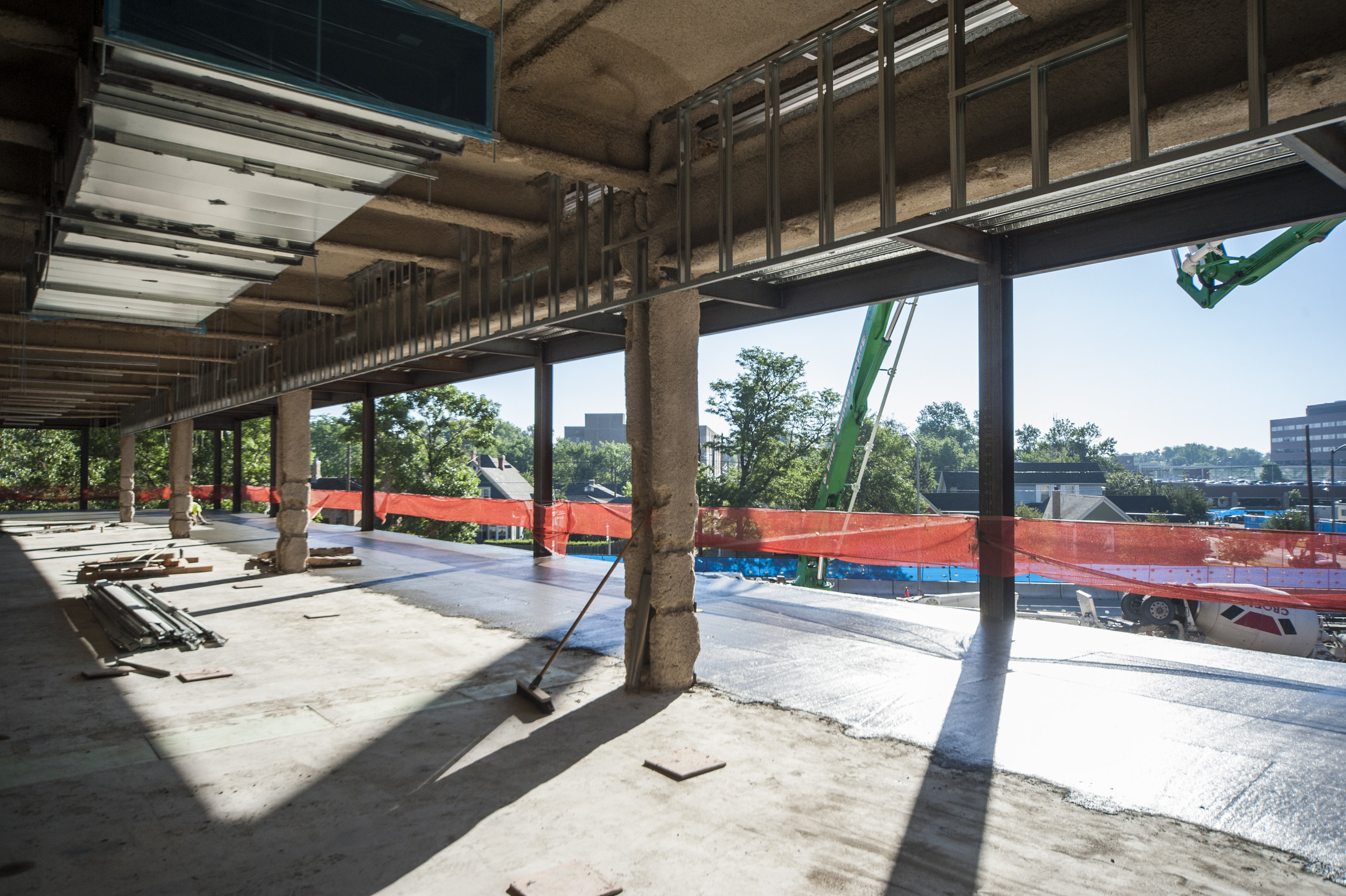 The concrete pour is finished on the second floor. Notice the new ductwork and steel framing that has been installed in the older section of the Herschler Building.