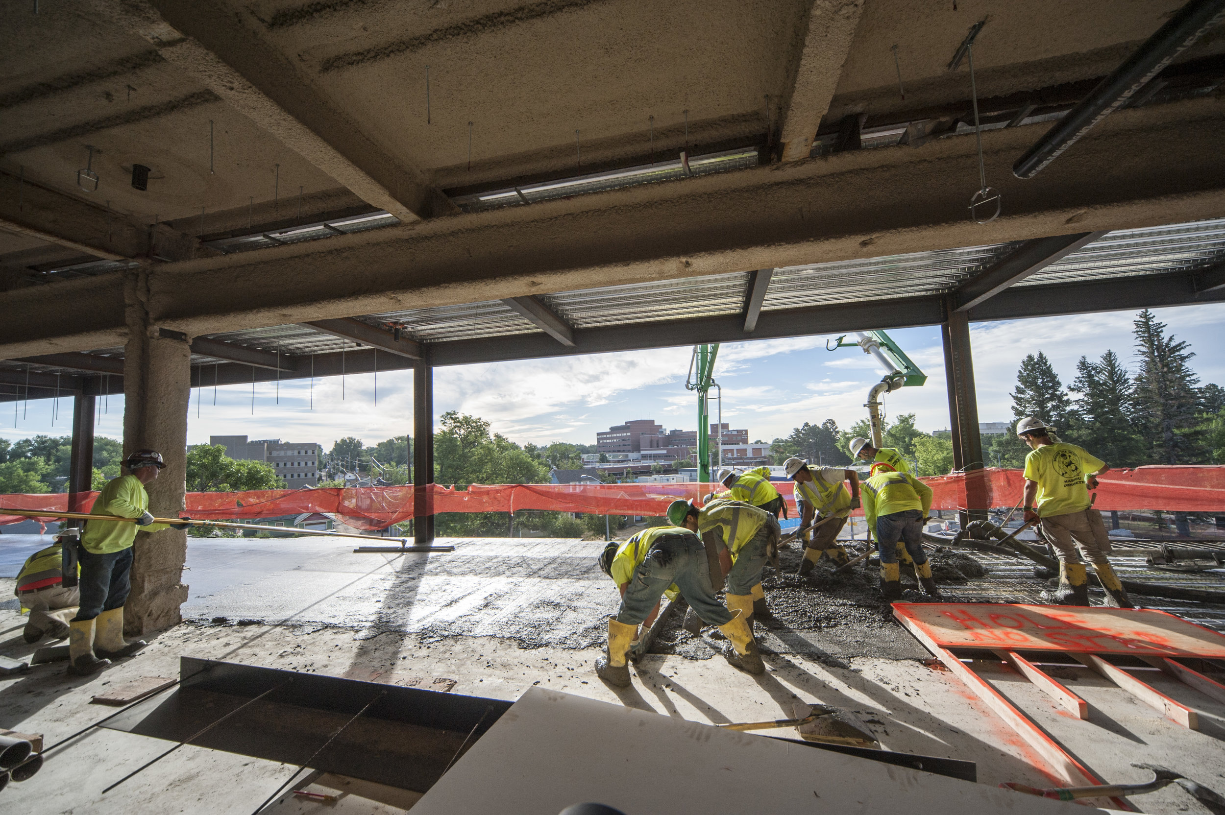 Teamwork helps to move quickly and efficiently through a large concrete pour.