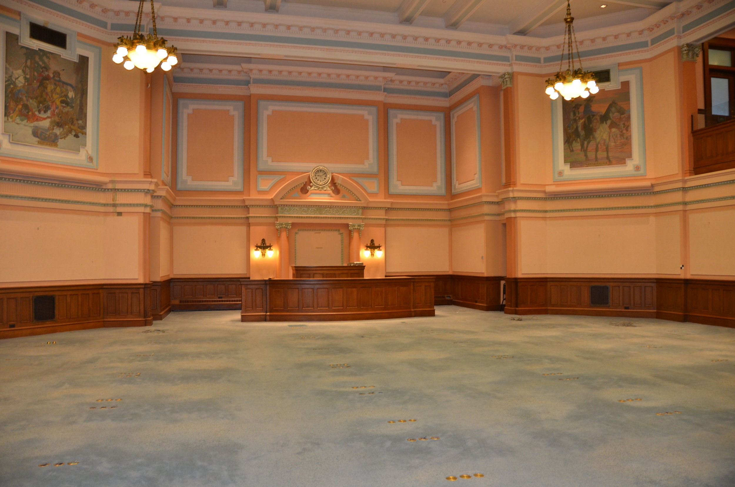 Photo of the House Chambers in early 2016 prior to the restoration