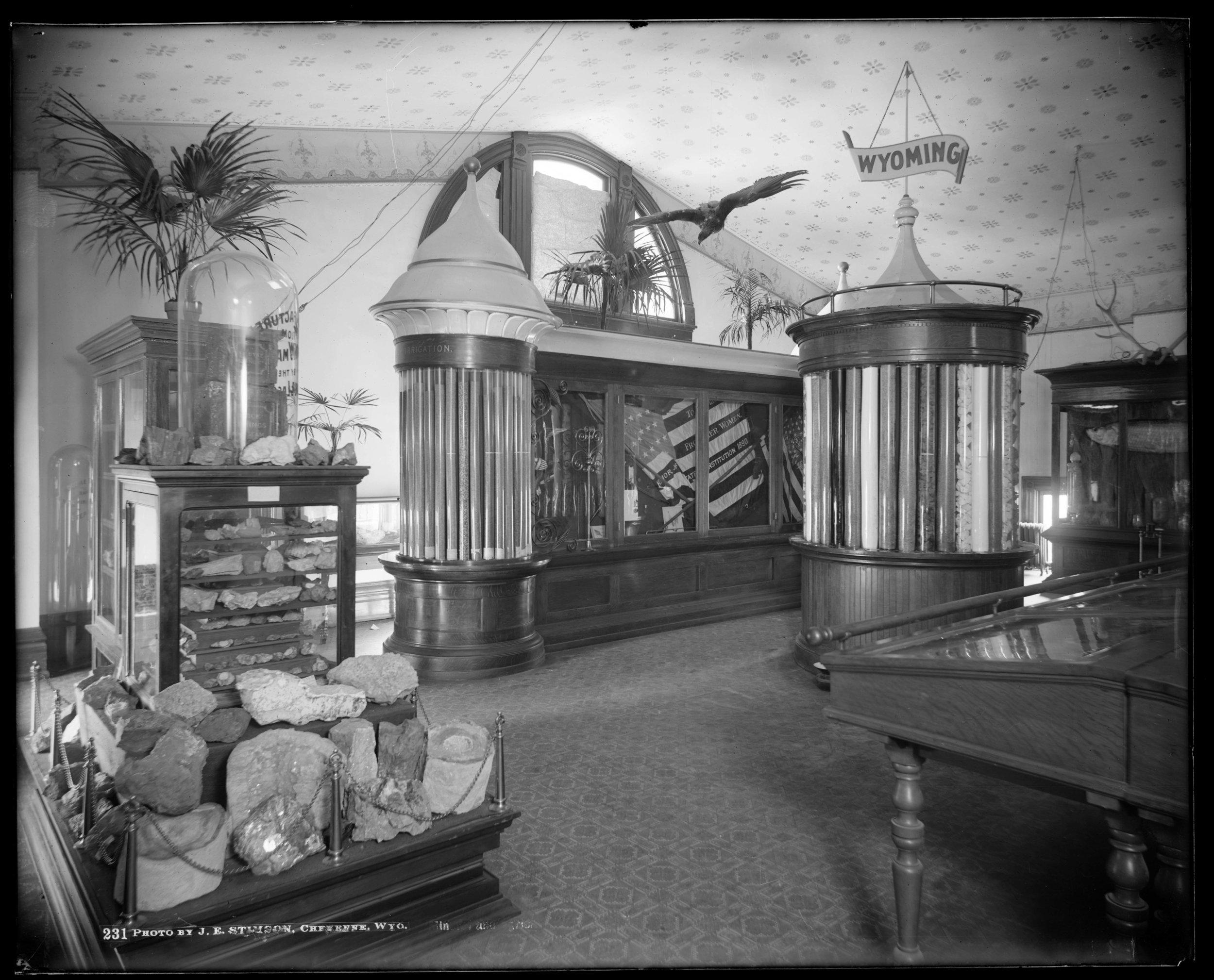 Figure F3-4 Stimson Neg 231, WY Fossil & Mineral display in Capitol, 1902.jpg