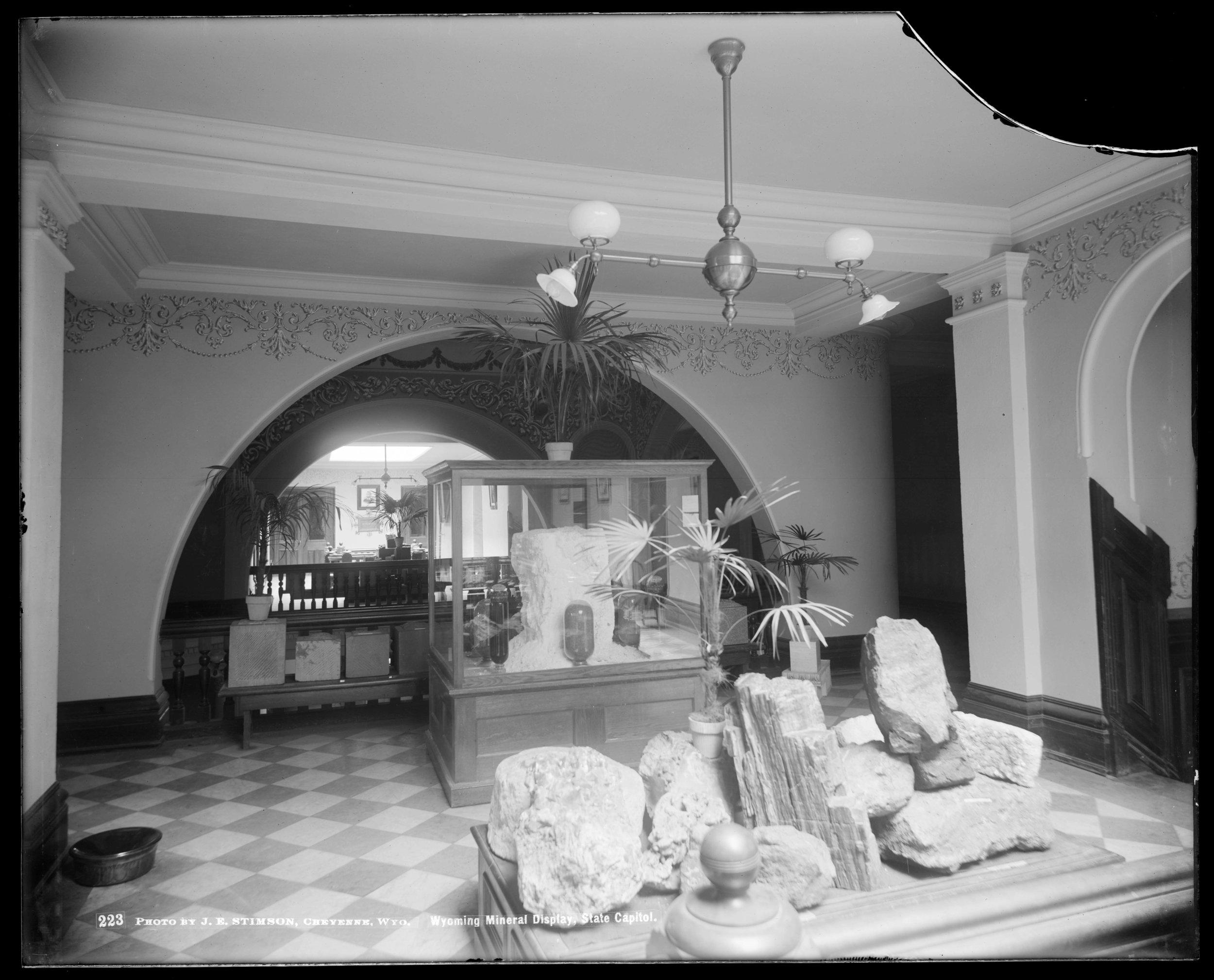 Figure F3-2 Stimson Neg 223, WY Mineral Display in Capitol, 1902.jpg