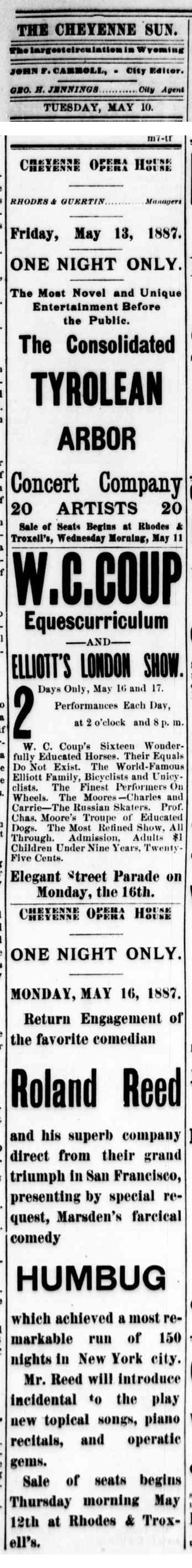 1887-Cheyenne Daily Sun no. 52 May 10, 1887, page 3-Roland-cornetstone.jpg